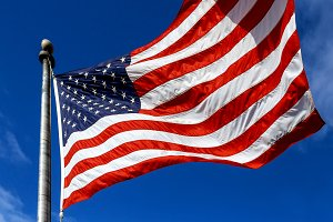 USA. Wind blown flag United States