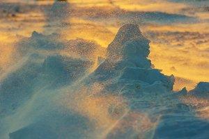 landscape during winter snowstorm