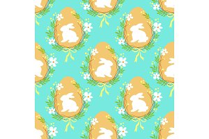 Cute rustic hand drawn Easter seamless pattern with wreath of spring flowers, egg and bunny
