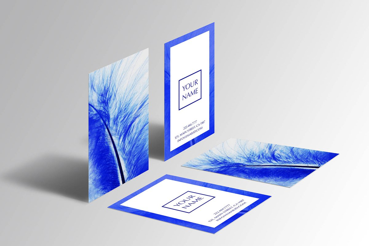 Beautiful blue feather business card in Business Card Templates - product preview 2