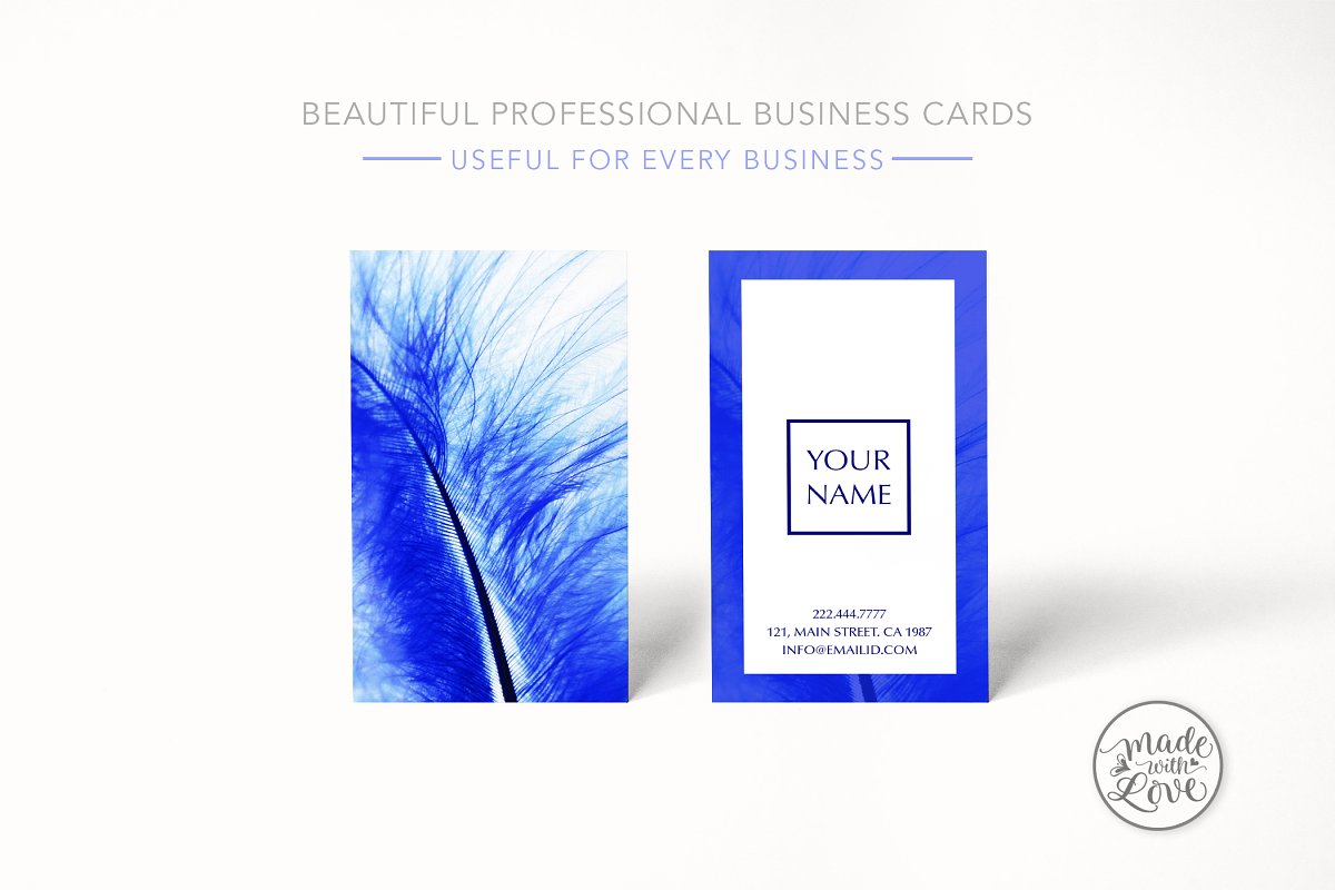 Beautiful blue feather business card in Business Card Templates - product preview 1