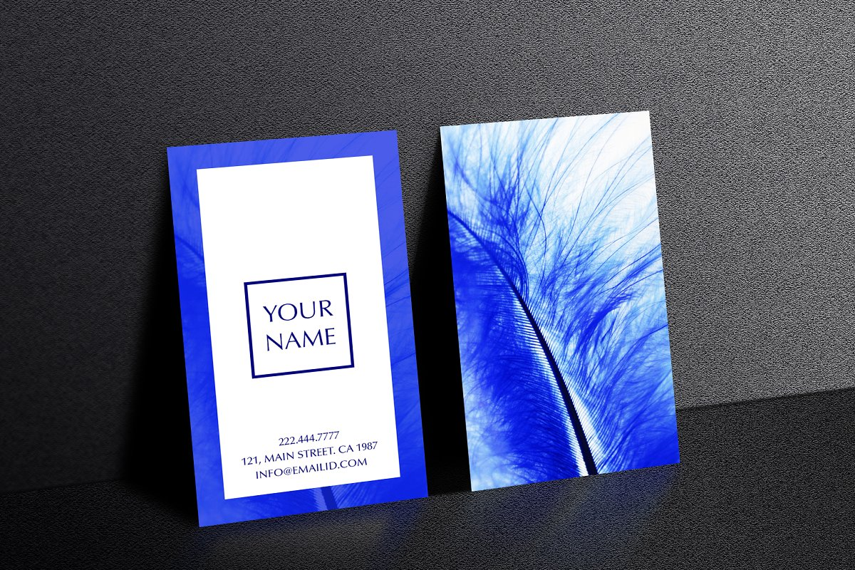 Beautiful blue feather business card in Business Card Templates