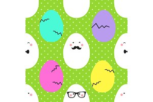 Cute childish hand drawn Easter seamless pattern with cartoon characters of eggs emoji on polka dots background