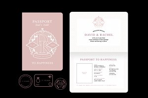 passport wedding invitation vector