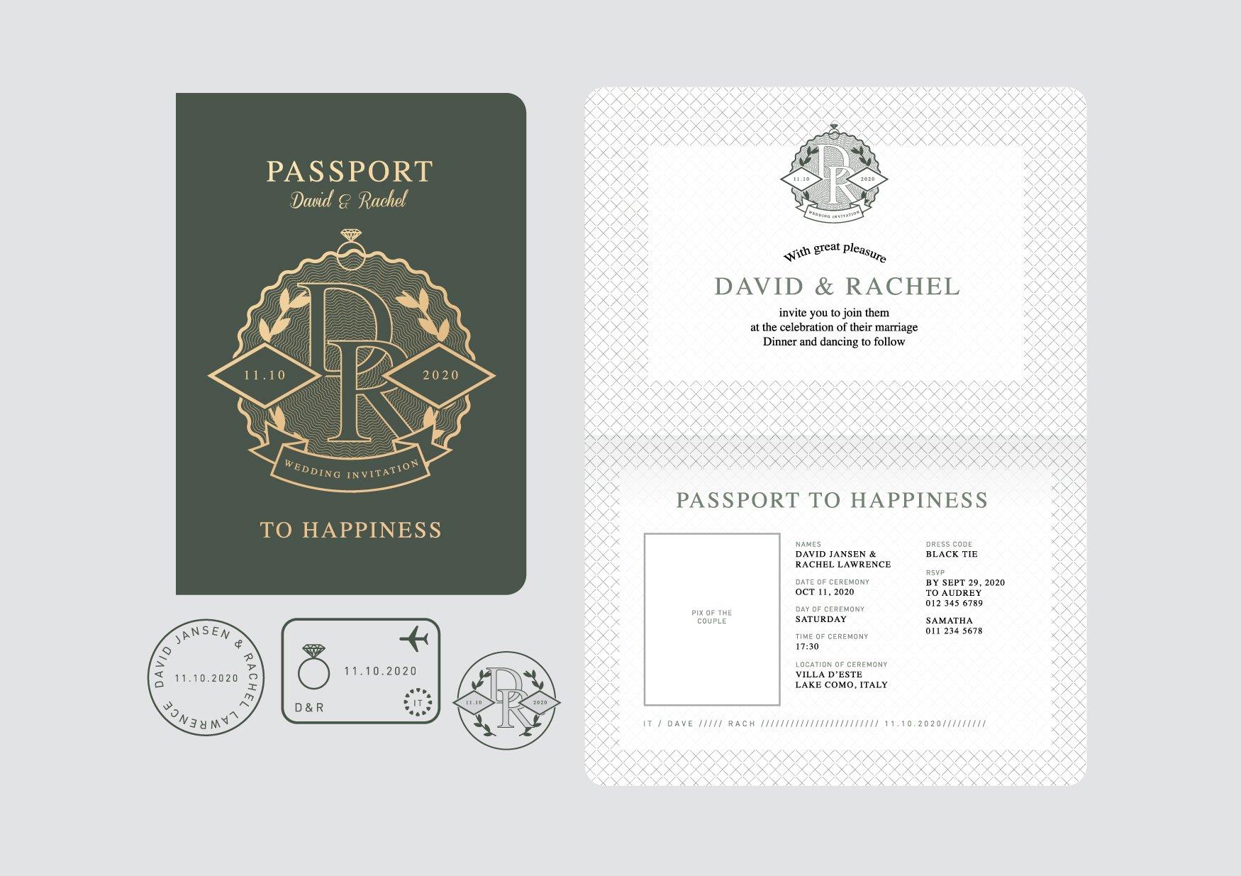 Passport wedding invitation vector illustrations creative market passport wedding invitation vector stopboris Image collections