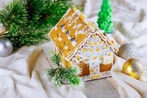 Gingerbread house on Christmas snow