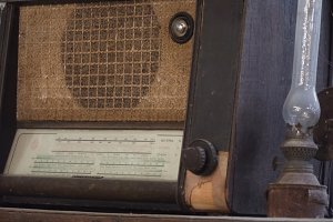 Old radio and an antique table lamp