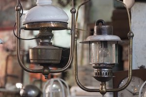 Antique lamp with shade.