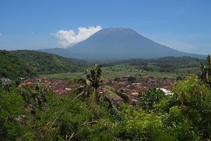 Mountain landscape farmlands and village Bali, Indonesia.