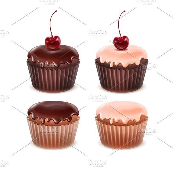 Set of different muffins