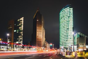 Business city street at night