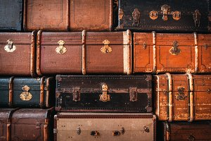 Vintage suitcases background