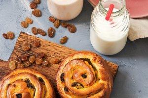 Fresh pastries with raisins.