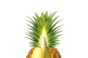 Ripe sliced pineapple