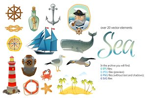 Sea Cartoon Set