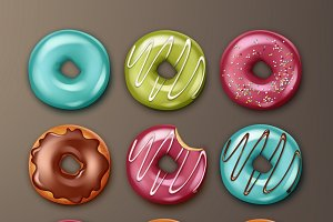 Set of different donuts