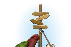 Wooden directional signpost