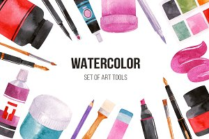 Watercolor set of art tools