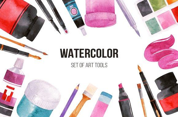 Watercolor Set Of Art Tools