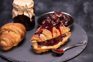 croissants and strawberry jam