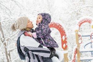 Family in snowy park