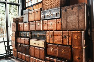 Suitcases and chests vintage