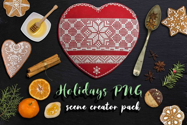 Holidays PNG scene creator pack