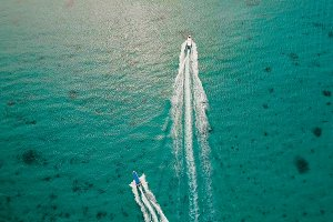 Speedboat on the sea, aerial view.Boracay island, Philippines.