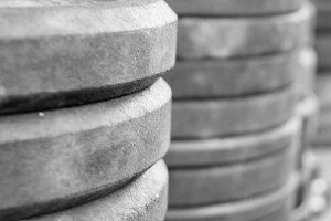 Stacks of CrossFit Weight Plates