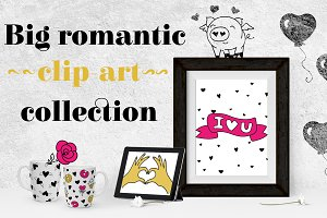 Romantic set. Graphics, patterns