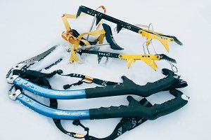 Ice Climbing Axe and Crampons Side