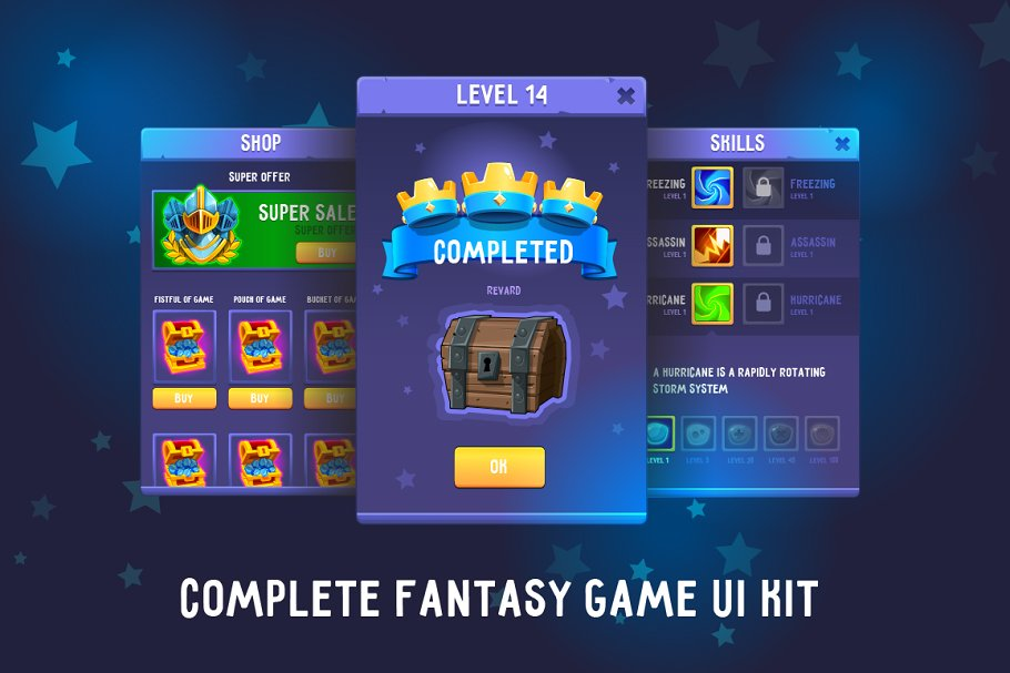 Complete Fantasy Game UI kit ~ UI Kits and Libraries