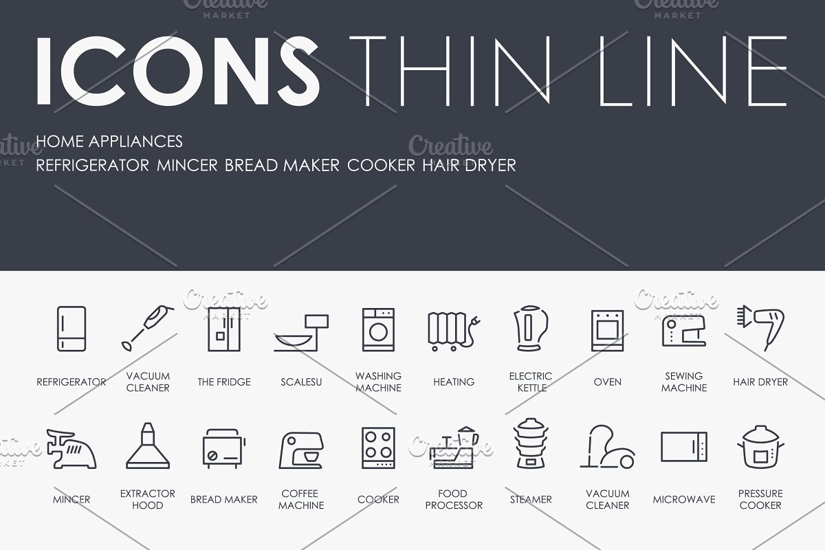 Home appliances thinline icons