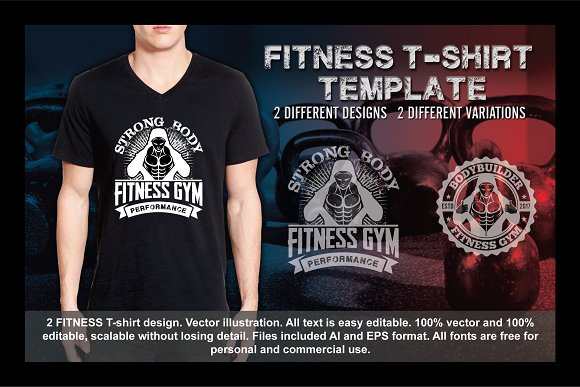 2 Fitness T-Shirt Template Vol 8