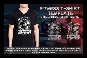 2 Fitness T-Shirt Template Vol 9