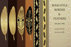 Tribal border and feather collection