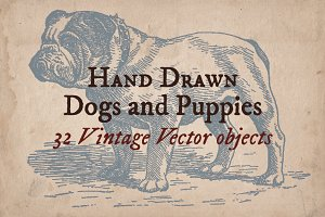 32 Hand Drawn Dogs and Puppies