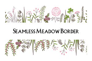 Meadow herbs seamless borders background. Illustration for posters, greeting cards, and other printing projects.