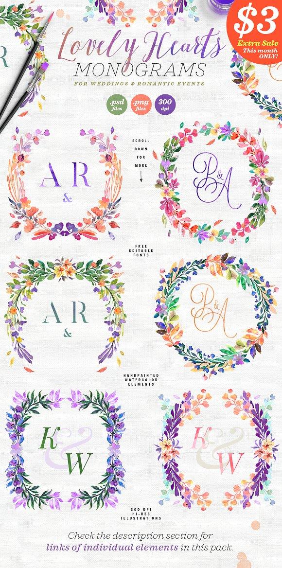 Lovely Hearts Monograms I