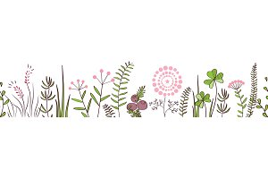 Vector seamless border with forest and meadow plants. Background for frames, decorative scotch tape, posters, kids illustrations.