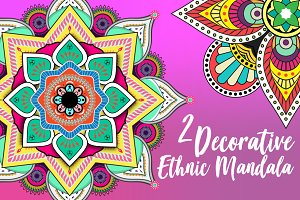 2 Decorative Ethnic Mandala