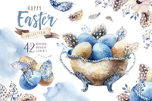 Watercolor easter collection