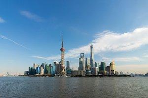 Shanghai Skyline and Blue Sky