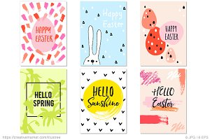 6 Easter cards, vector set
