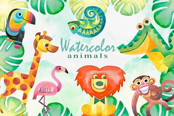 Watercolor Tropical Animals