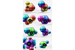 Metallic glossy color abstract shapes, vector banner layouts, buttons. Mega collection