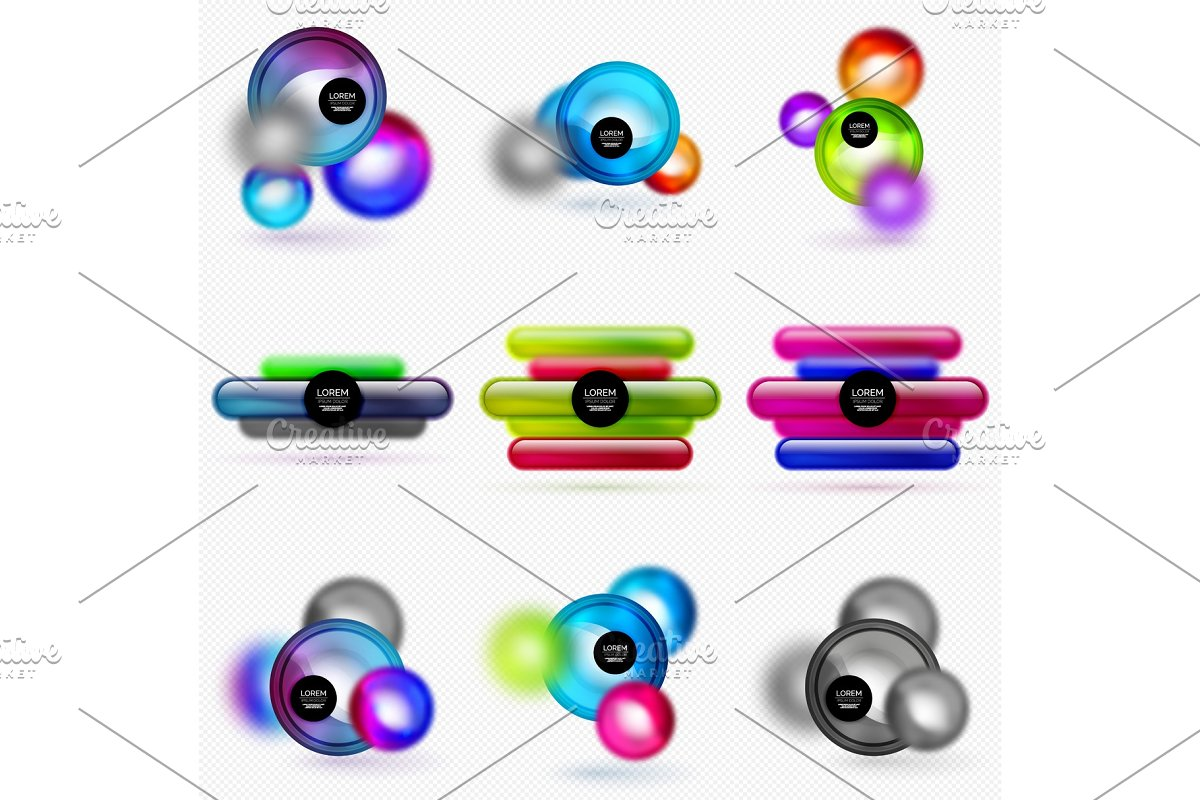 Set of glass shapes banner set with blurred effects in Illustrations - product preview 8