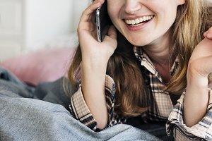 Caucasian girl talking on the phone