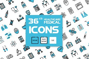 36x3 Healthcare & Medical icons