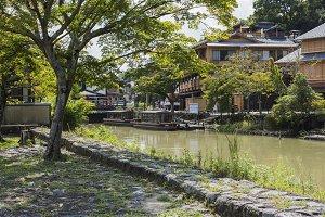 boats in arashiyama